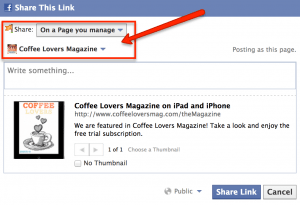 Coffee Lovers Magazine - Facebook Sharing